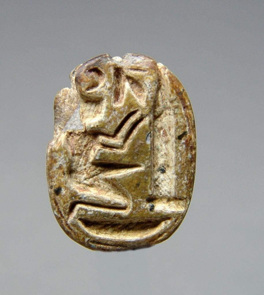 Egyptian Steatite Scarab - Praying King in Front