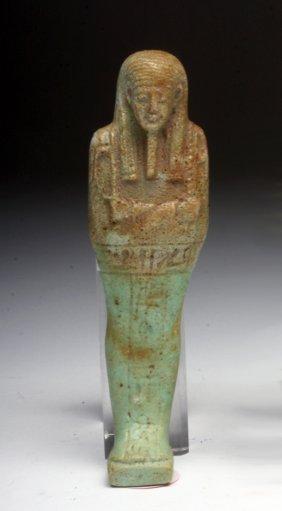 Egyptian Green-Glazed Faience Ushabti