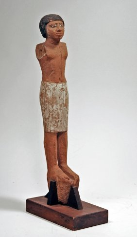 Large Egyptian Wood Standing Male Figure