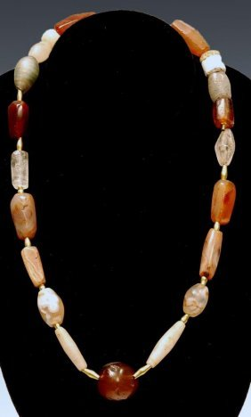 Near Eastern Stone Carnelian and Gold Bead Necklace