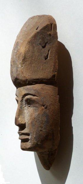 Ancient Egyptian Wood Sarcophagus Mask