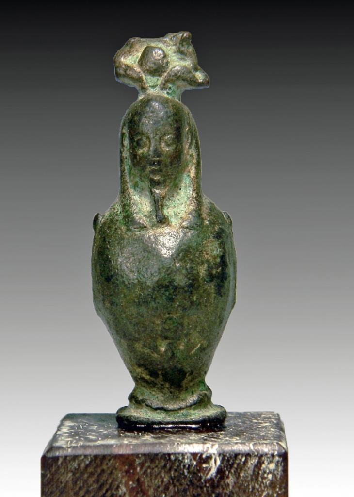 Egyptian Bronze Osiris-Canopus Amulet