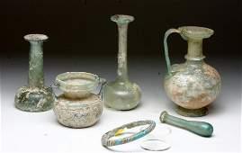 Lot of 6 Roman and Islamic Glass Vessels
