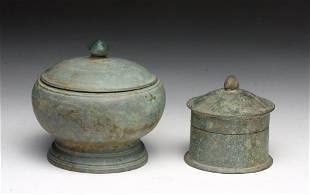 Lot of 2 Khmer Bronze Pyxii