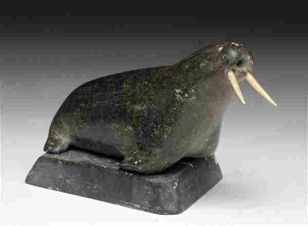Vintage Inuit Carved Soapstone Walrus