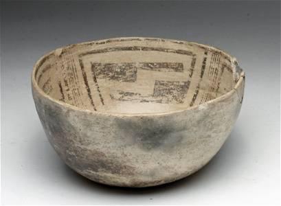 Gallup Anasazi Black on White Polychrome Bowl
