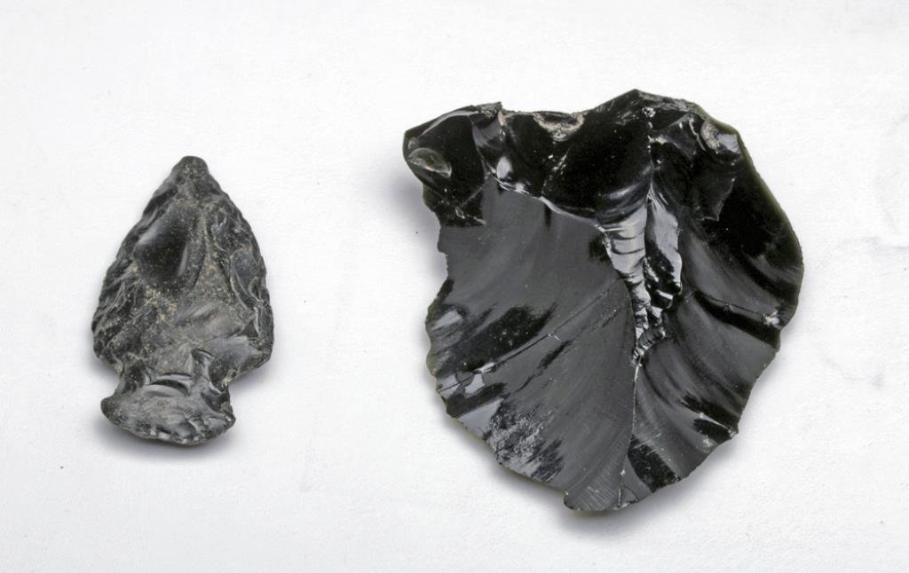 Black Obsidian Arrowhead and Scraper