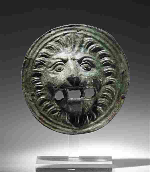 Published Roman Bronze Applique, Lion's Head Form