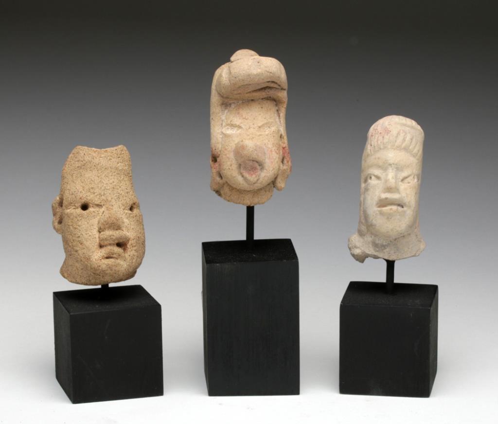 Pre-Columbian Olmecoid Terracotta Heads (3)