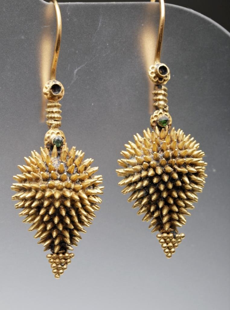 Near-Ancient Near East Gold Earrings, Pinecone Form