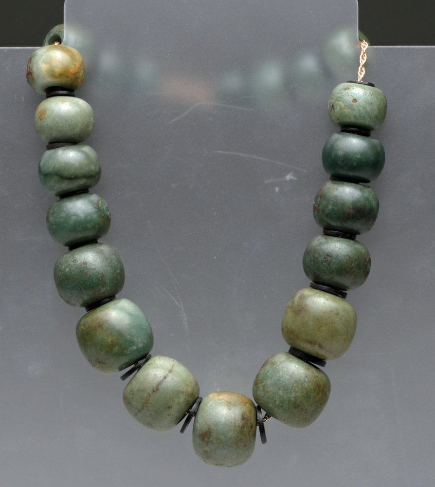 Exceptional Strand of Olmec Jade Beads, 14k Gold Chain
