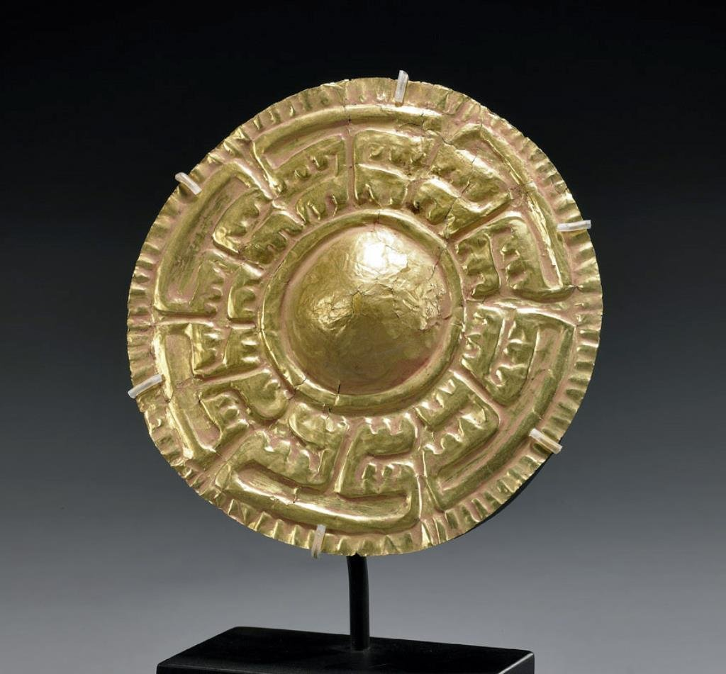 Chavin Gold Roundel - Rows of Camelids