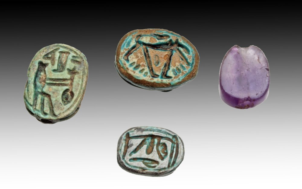 Lot of 4 Egyptian Scarabs, ex-Mitry