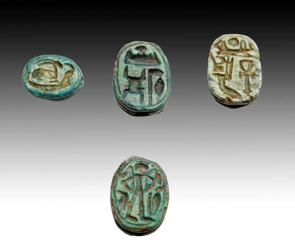 Lot of 4 Ancient Egyptian Scarabs