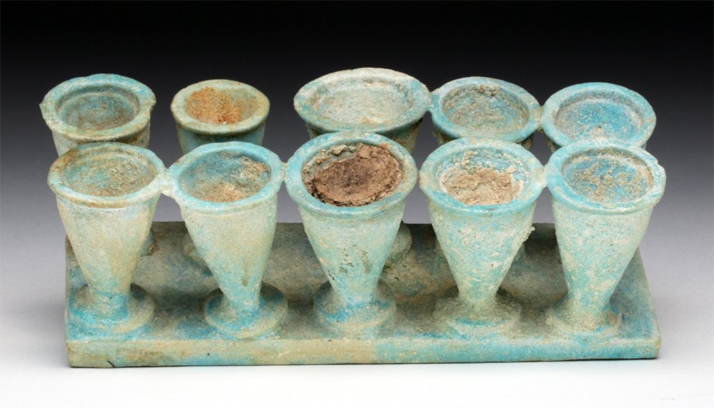 Egyptian Faience Kohl Container - 10 Vials