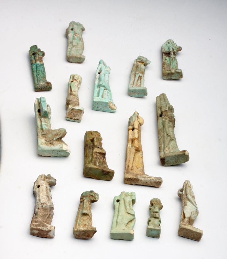 Lot of 15 Ancient Egyptian Faience Amulets