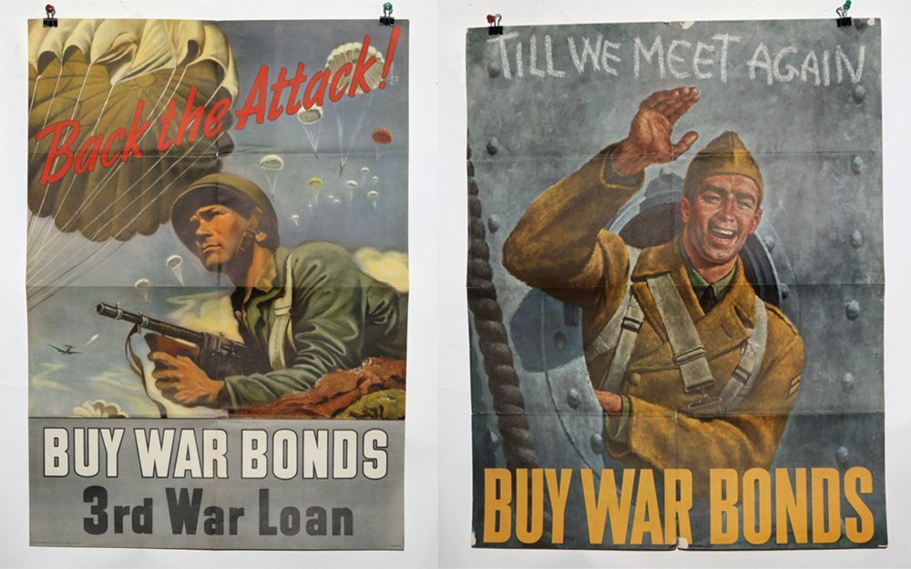 Lot of 2 WWII War Bond Posters
