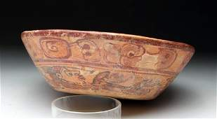 Mayan Pottery Copador Polychrome Swimmer Bowl