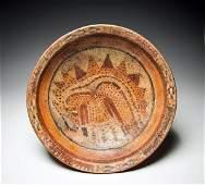 Mayan Polychrome Footed Plate w Jaguar