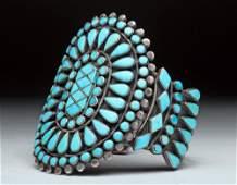 Zuni Silver / Turquoise Cluster Bracelet, ex-Historia