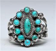 Zuni Petit Point Turquoise and Silver Ring Size 6