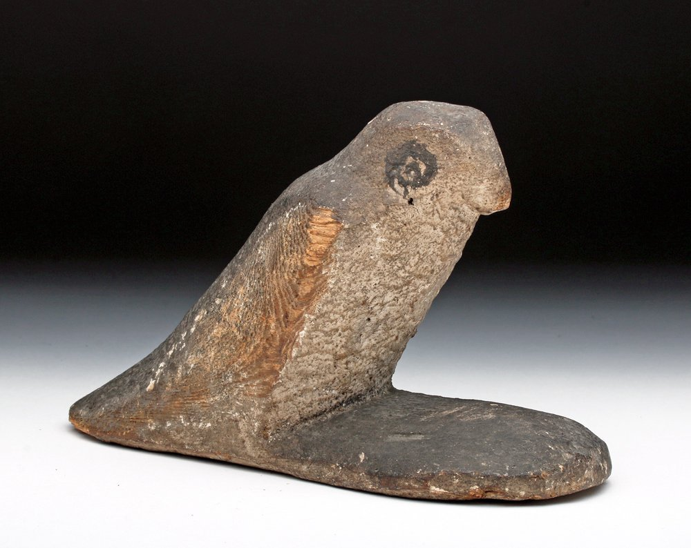 Ancient Egyptian Wood / Painted Gesso Ba Bird