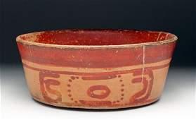 Large Mayan Bi-Chrome Pottery Bowl