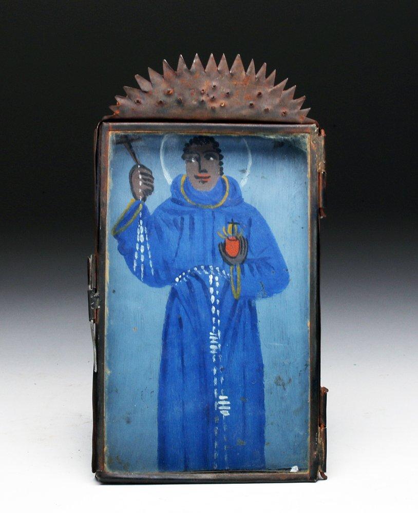 19th C. Mexican Retablo San Benito de Palermo Tin Nicho