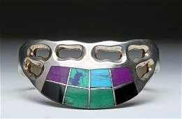 Mexican Sterling Bracelet, T8-88 w/ Colorful Inlays