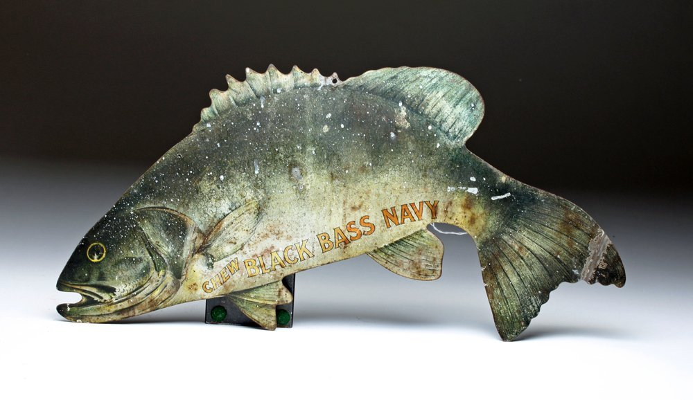 Antique Black Bass Navy Chewing Tobacco Tin Sign