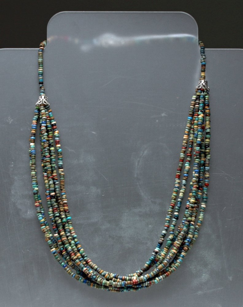 Stunning Egyptian 8-Strand Faience Bead Necklace