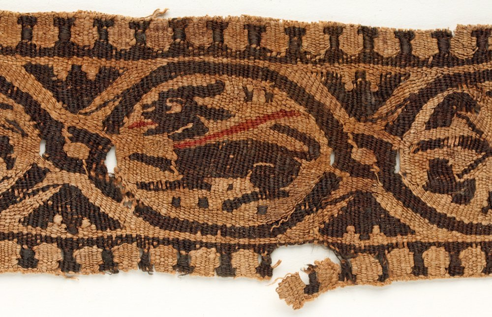Egyptian Coptic Textile Section - Dog w/ Red Leash