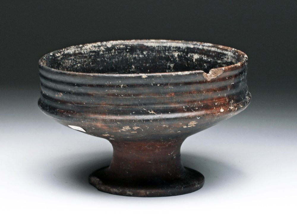 Etruscan Bucchero Footed Bowl