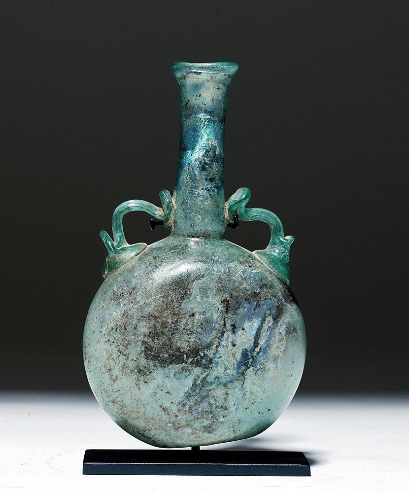Iridescent Roman Glass Flask w/ Applied Handles