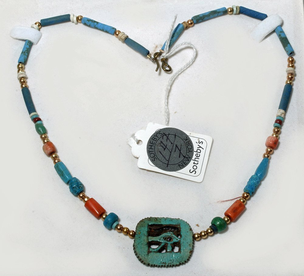 Egyptian Faience Necklace, Udjat Pendant, ex-Sotheby's