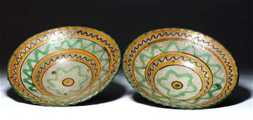 19th C Colonial Majolica Ceramic Bowls pr