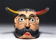 20th C. Mexican Polychrome Wood Devil Mask w/ Horns