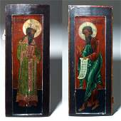Impressive 17th C Russian Wood  Gesso Icons pr