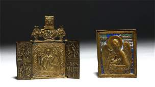 19th C. Russian Brass Traveling Icons (pr)