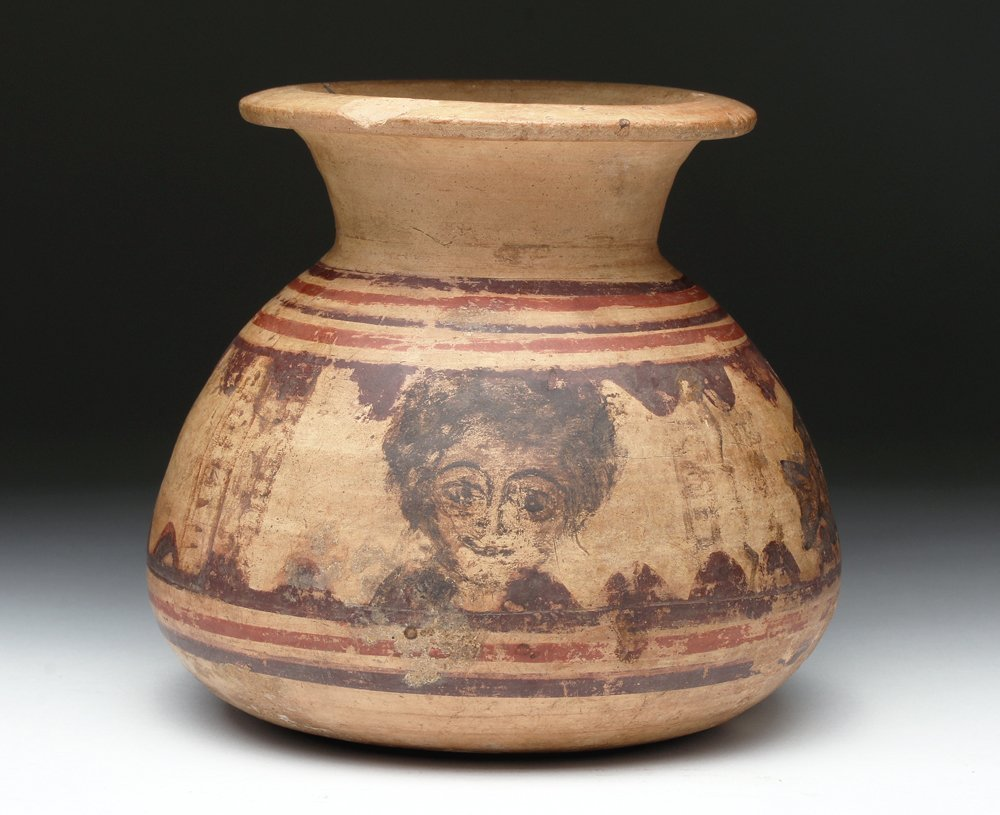 Coptic Painted Pottery Vessel - Fish, Bird, & Christ