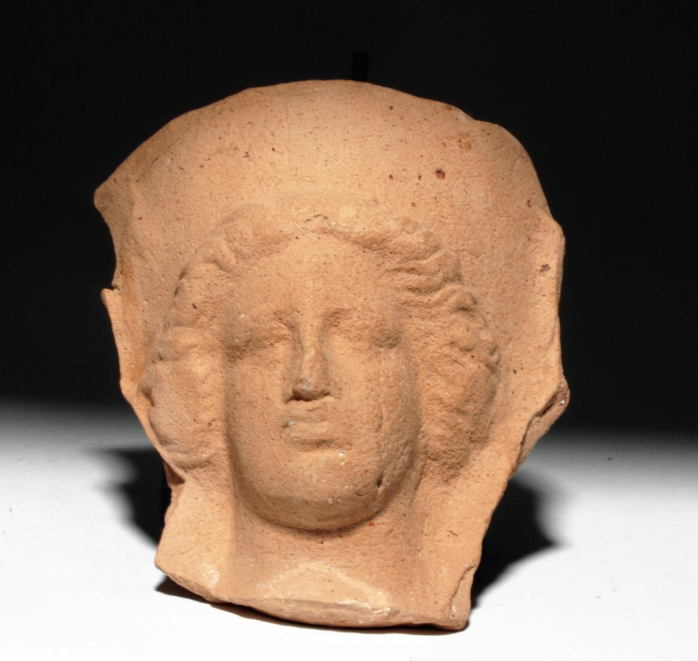 Greek Pottery Protome of a Female Face