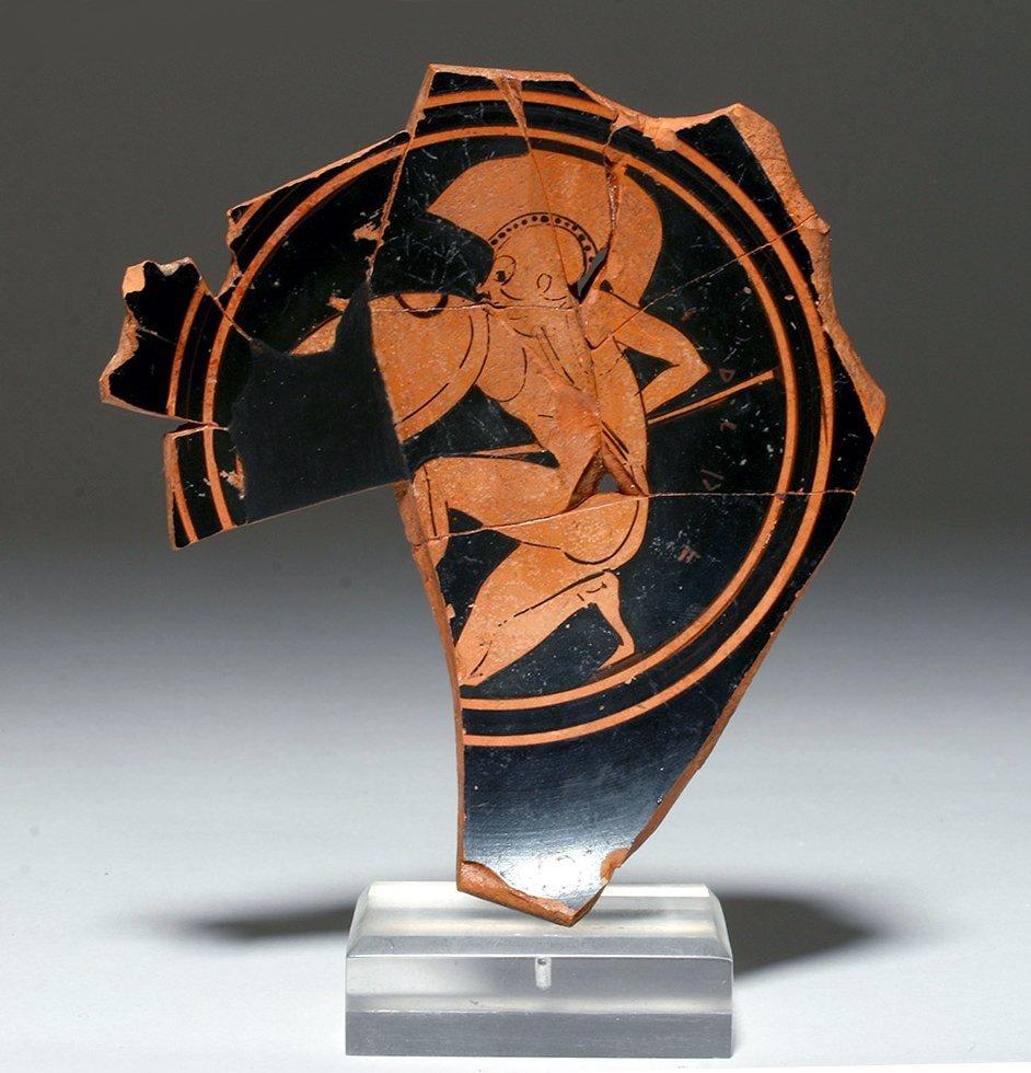 Signed Attic Red Figure Vase Fragment - Hoplite