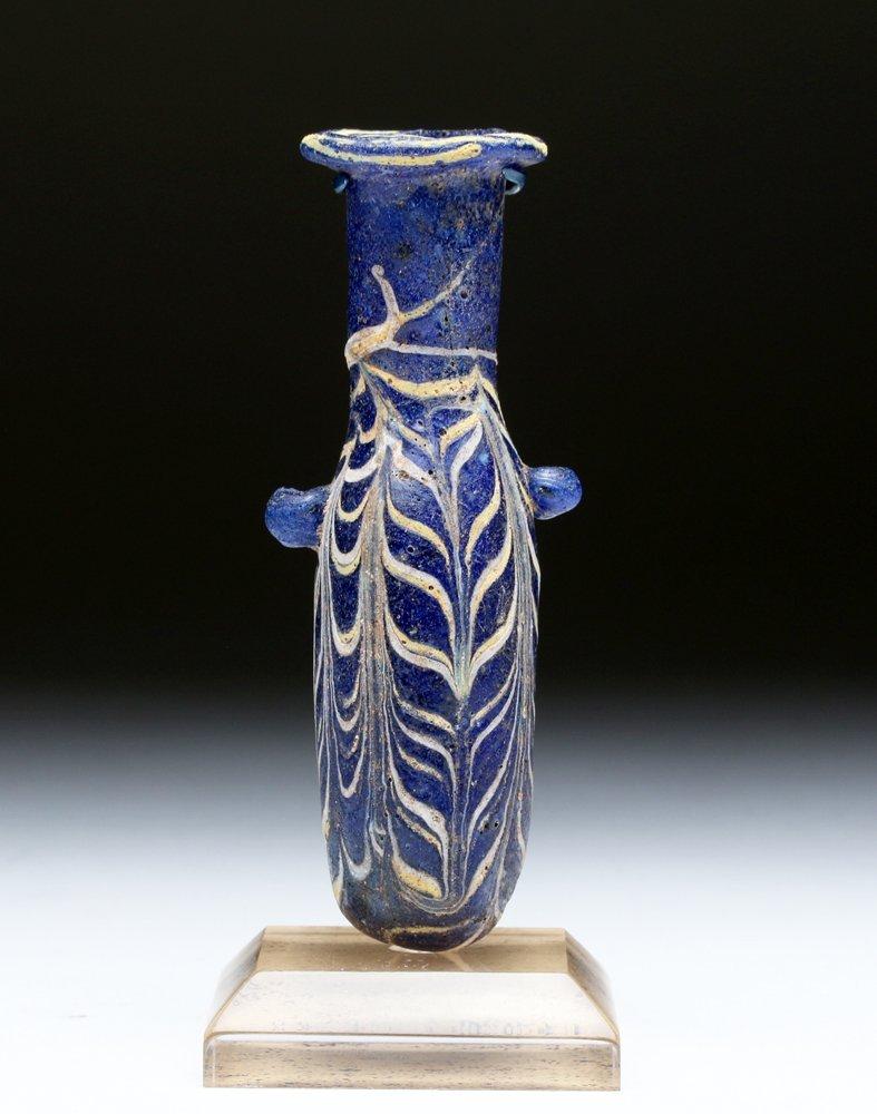 Greek Cobalt Blue Core-Formed Glass Alabastron