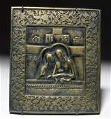 18th C. Russian Brass Traveling Icon