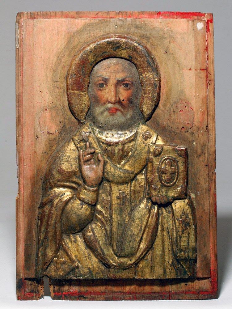 17th C. Russian Icon - St. Nicholas the Wonderworker