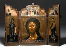 18th C. Russian Wood Panel Triptych Icon