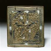 19th C Russian Brass  Enamel Travel Icon