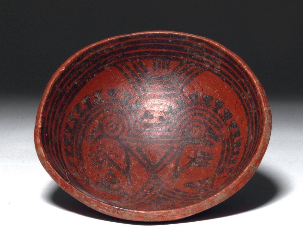 Panamanian Bi-Chrome Pottery Bowl - Birds