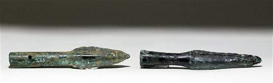 Pair Chinese Bronze Age Spearheads, ex-Piscopo