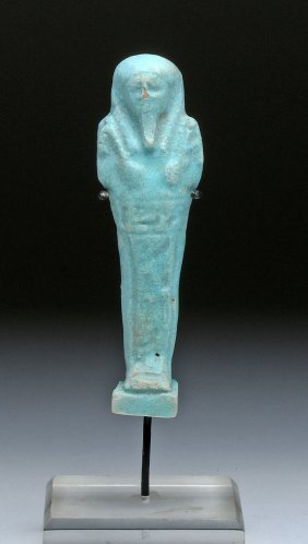 Egyptian Robin's Egg Blue Faience Ushabti
